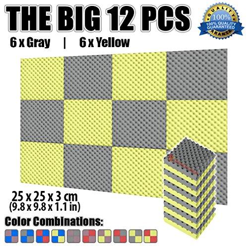 super-dash-12-pezzi-25-x-25-x-3-cm-giallo-e-grigio-egg-cassa-acustica-home-studio-soundproof-trattam