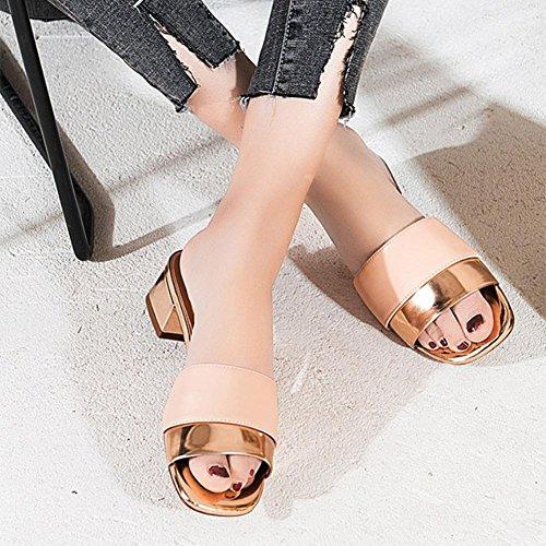 Pailletten dick mit quadratischem Kopf Frauensandelholzen Sommer Sandalen Pink