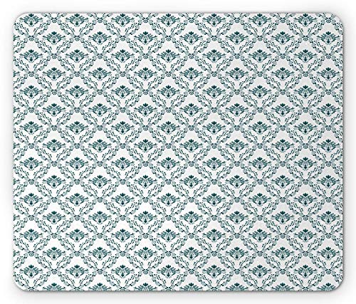 Victorian Mouse Pad, Abstract Leaves Old Classical Curvy Lines French Country Style Tiles Silhouette, Standard Size Rectangle Non-Slip Rubber Mousepad, Teal White
