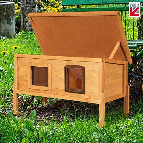 XL Externe Mikrochip Outdoor Katze Haus Kennel mit One Way Privacy Fenster