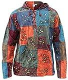SHOPOHOLIC FASHION mit Kapuze steinwäsche Patchwork Blockmuster Opa Hippie Hemd - Gemischte Farben, Mehrfarbig, X-Large