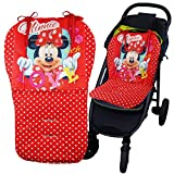 Universal Kinderwagen Sitzauflage, Buggy Auflage für alle gängigen Kinderwägen und Buggys (ohne Kinderwagen) (Minnie Mouse - Rot)