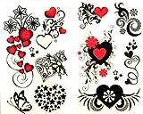 SPESTYLE wasserdicht ungiftig temporäre Tätowierung stickerslatest neue Release 1 Packung mit 2 Stück wasserdicht roten Herzen schwarzen Stern Blume und Schmetterling Tattoos