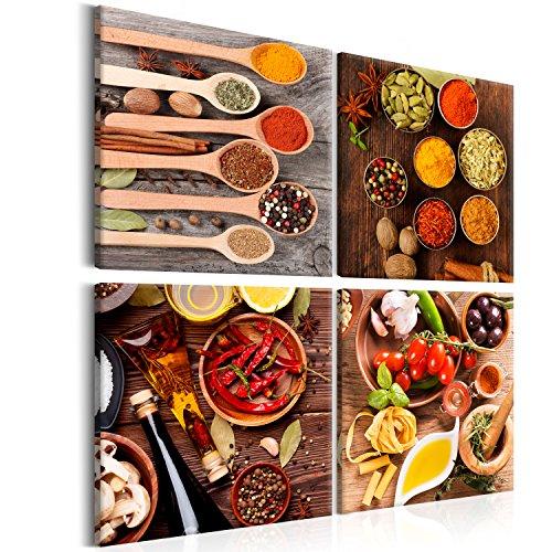 murando Quadro 80x80 cm Stampa su Tela in TNT XXL Immagini Moderni Murale Fotografia Grafica Decorazione da Parete 4 Pezzi Spezie Peperone Peperoncino Pomodoro j-B-0034-b-i