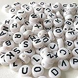 Hosaire 200x Buchstabe Perlen Kunststoff Perlen Weiß Basteln Perle