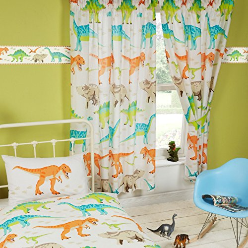 "Dinosaurio mundo cortinas con forro 72"""