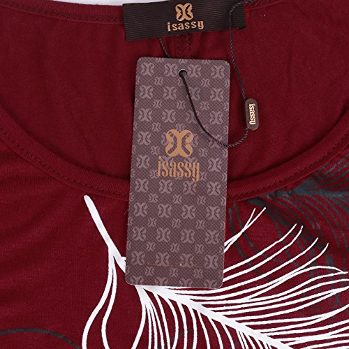 ISASSY Damen Relaxed T-Shirt Grün grün Medium Vin Rouge