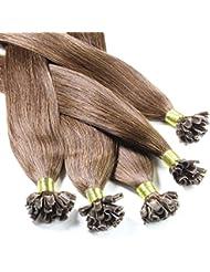 hair2heart 150 x Bonding Extensions aus Echthaar, 50cm, 1g Strähnen, glatt - Farbe 4 braun