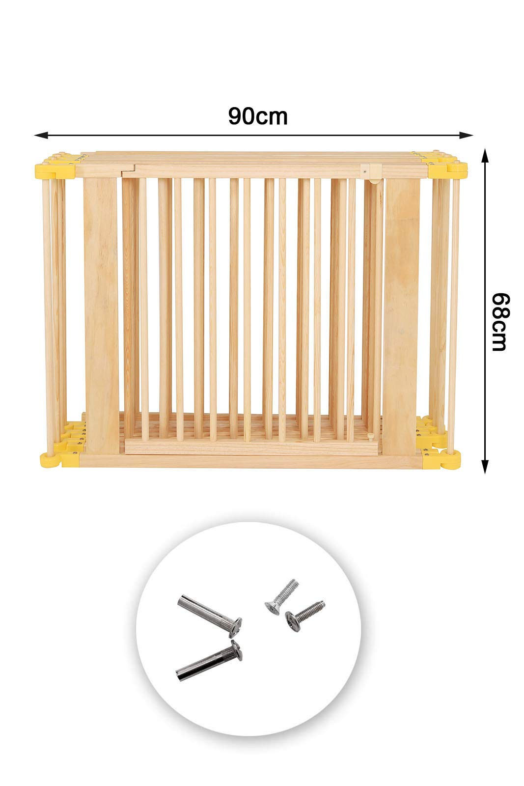 dibea DP00586 Baby Child Playpen, Wood, 270° Foldable incl. Door, 6 Panels Each 90x68cm dibea Wooden playpen with door, height 68 cm, 6 elements (including 1 door) each 90 x 68 cm (L, H). Distance between the single bars about 7, 5 cm 270 ° foldable, lockable form, flexibly usable as a playpen, protective grid, room divider or stair guard Rubber coating under the feet, so that the grid can not be moved by the baby 6