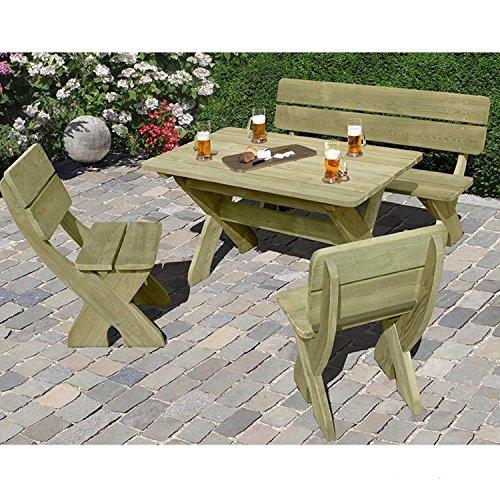 Gartenbank mit Picknicktisch und 2 Stühlen aus Holz von Gartenpirat