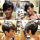 HOTKIS - Peluca corta de pelo humano para mujer, color natural se puede teñir y permear
