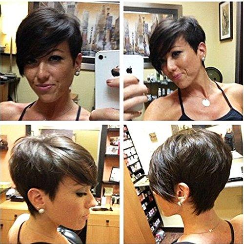 HOTKIS - Peluca corta de pelo humano para mujer