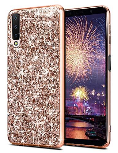 Coolden Samsung Galaxy A7 2018 Hülle,Glitzer Bling Sparkle Stoßfest Hard PC TPU Bumper Ultra Schlank Schutz Handytasche Hülle für Samsung A7 2018 (Rose Gold)