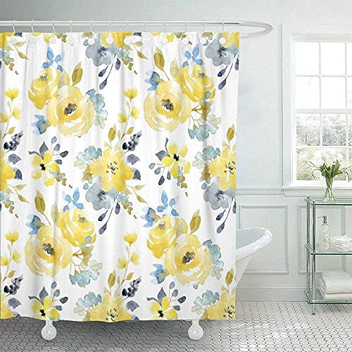 Bath Curtain, Fabric Shower Curtain with Hooks Gray Floral Watercolor Bright Summer Pattern Yellow and Blue Abstract Flowers Red Rose Decorative Bathroom Treated to Resist Deterioration by Mildew