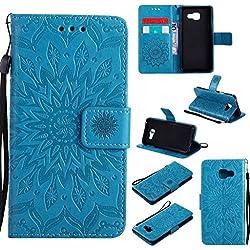 BoxTii Coque Galaxy A3 2016, Etui en Cuir de Première Qualité [avec Gratuit Protection D'écran en Verre Trempé], Housse Coque pour Samsung Galaxy A3 2016 (#6 Bleu)
