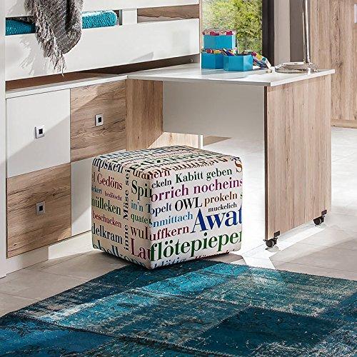 Wimex 326238 Hoch-/Kinderbett, Holz, san remo eiche Nachbildung / Absetzungen alpinweiß, 204 x 98 x 127 cm - 2