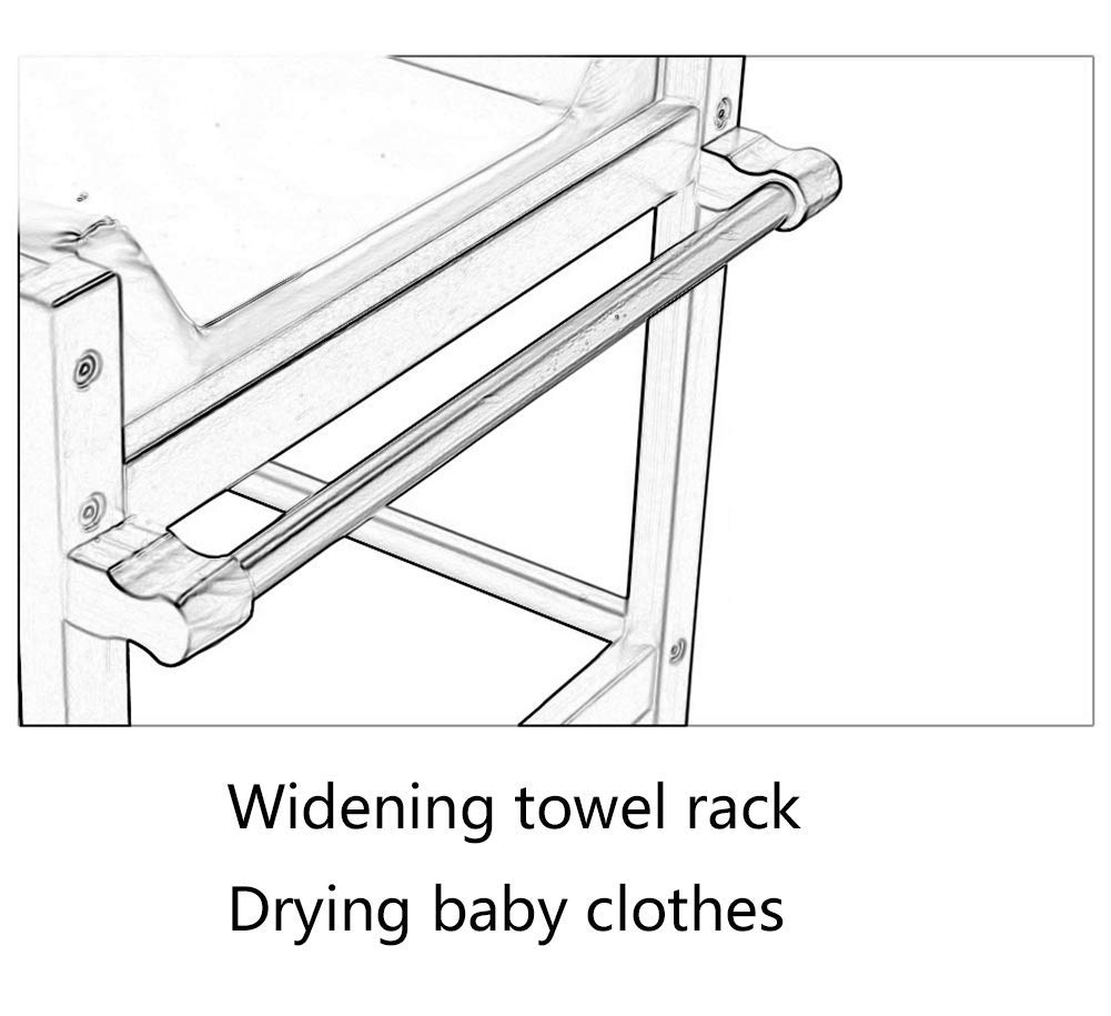 Baby Changing Table White Portable Wood Diaper Station with Safety Fence & 2 Wheels, 3-Shelf Baby Cot Dresser GUYUE 2 Silent caster. Safety rails: 10.5cm super high fence. Strong and sturdy wood construction: Pine. 3