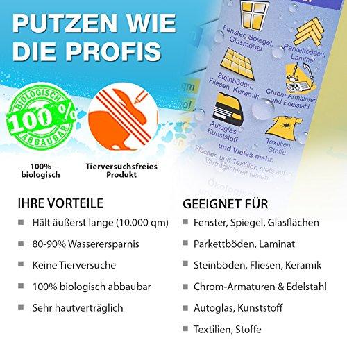 Profi-Glasreiniger Konzentrat, 250 ml | Fensterreiniger mit lotus-ähnlichem Effekt | für Glatt und Glasflächen | Tierversuchsfrei und umweltfreundlich - 4
