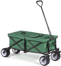 SAMAX Bollerwagen Handwagen Kühltasche Gartenwagen Strandwagen Klappbar Faltbarer Transportwagen Grün