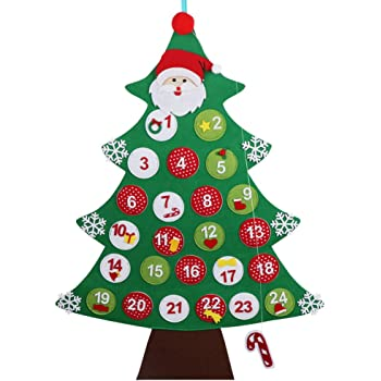 OurWarm Felt Christmas Tree Advent Calendar Countdown to Christmas Calendar Xmas Gifts for Kids Wall Hanging Decor 24 x 34 Inch