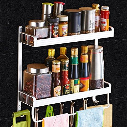 BOBE SHOP- Étagère de cuisine murale Double couche Rangement d'ustensiles de cuisine Étagère à épices, espace aluminium, avec crochets et porte-serviettes (taille : 50 cm)