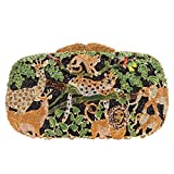 Bonjanvye Lovely and Trendy Style Forest Animal Pattern Clutch Purse Black