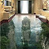 Weaeo Benutzerdefinierte Foto Boden Tapete 3D Cliffs Berggipfel Wohnzimmer Badezimmer 3D Bodenfliesen Wandbild Pvc Selbs