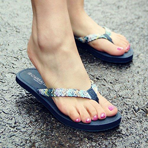 XIAMUO Tide neue Sommer Frauen flach mit niedrig-heel rutschfeste Füße Gras gewebte Wort clip flip-flops Leisure Travel beach Sandalen, 35, Blau b Dddddd Wohnung mit Bast