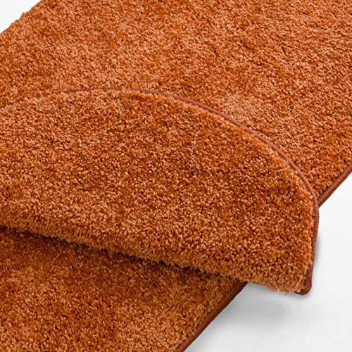 Stufenmatten uni terra | Qualitätsprodukt aus Deutschland | GUT Siegel | kombinierbar mit Läufer | 65x23,5 cm | halbrund | 15er Set