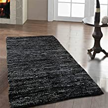 Homescapes Alfombra de pasillo hecha a mano de cuero reciclado, elegante y decorativa, Color Negro 66 x 200 cm