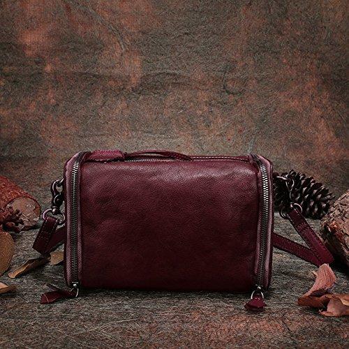 Nouvelle mode rétro épaule unique de loisirs coupe diagonale couche de grande capacité en cuir sacs shopping loisirs Red