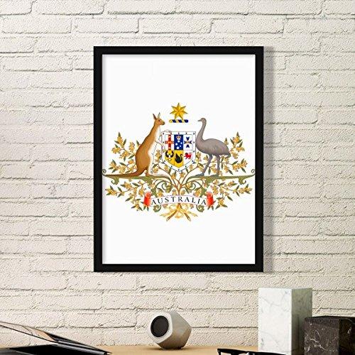 DIYthinker Canberra Australien National Emblem-Kunst-Malerei Bild Foto Wooden Rectangle Rahmen Ausgangswand-Dekor-Geschenk Small Schwarz
