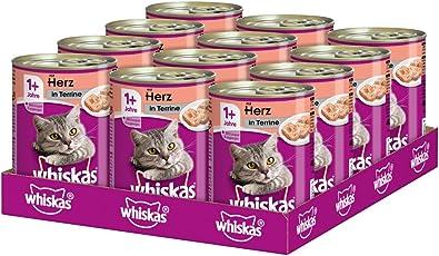 Whiskas Katzen-/Nassfutter Adult 1+ für Erwachsene Katzen, 12 Dosen (12 x 400 g)