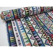 Tejidos Oferta - Metraje 2,45 mts tejido loneta estampada Ref. Delta Multicolor, con ancho 2,80 mts.