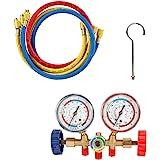 Refrigerant manifold gauge set, VISLONE Manómetros Aire Acondicionado de Refrigeración con manguera y gancho para R12 R22 R40