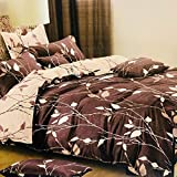 Refinish Home Vintage Balestra Collection Brown Colour Poly Cotton Floral 120x120 In. (300x300cm)(10ft By 10ft) Super King Size Graceful Double Bed Sheet With 2 Pillow Covers Under 2000