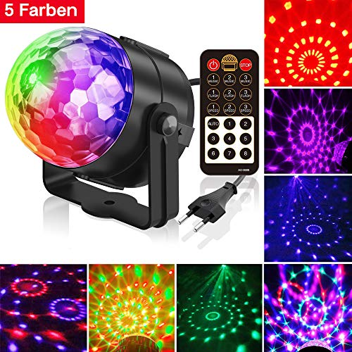 Discokugel, Gvoo LED Christmas Party Licht Disco Party Licht 7 Farbenkonbinationen aus 5 Farben, Bühnenbeleuchtung Effektlicht, für Urlaub Party Kinder Geburtstag Karaoke Club Lichteffekte Weihnach