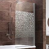Schulte Duschwand Berlin, 80x140 cm, 5 mm Sicherheitsglas Terrazzo, chrom-optik, Duschabtrennung für Badewanne