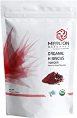 Merlion Naturals Organic Hibiscus Petals Powder   NPOP India & USDA NOP Certified Organic (100 gm)