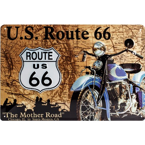 Nostalgic-Art 20208 US Highways - Route 66 Map, Blechschild 20x30 cm (Metall-schilder Der Route 66)