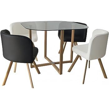 Mobilier Deco Ensemble Table 4 Chaises Encastrable Noir Et Blanc