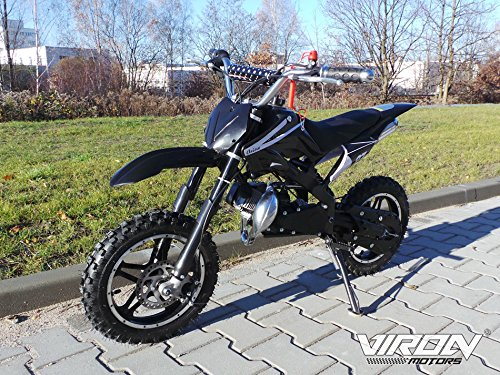 Dirt Bike 49cc - Enduro 10 Zoll Bereifung + Sportluftfilter & Sportauspuff + Aluminium Seilzugstarter 120 x 20 x 59 cm (LxBxH) Schwarz