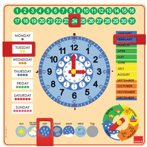 Goula - 51307 - Jeu Educatif - Horloge Calendrier - Anglais