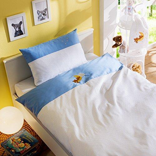 Mako Satin Kinder Bettwäsche Mond-Bär 100×135 + 40×60 cm 100% Baumwolle mit Bärchen Stickerei für Jungen und Mädchen