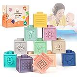 O-Kinee Giochi Neonato 6 Mesi Impilabile, Impilabile Cubi Bambini, Blocchi per Bambini, Giocattoli da Bagno con Numeri Forme