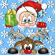 Peeping Santa and Rudolph Window Clings - With 28 Snowflakes - Fabulous Christmas Decorations