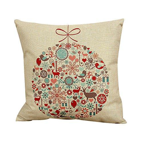 zug Weihnachten, kissenhülle Kopfkissenbezug Home Dekoration Pillowcase Baumwollleinen Christmas Drucken Super weich Sofakissen für Wohnzimmer Sofa Bed,45x45cm (Weiß) ()