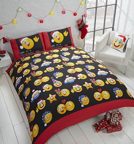 Christmas faces faces natalizio xmas social media icone copripiumino e federa set di biancheria da letto singolo, multicolore