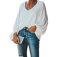Style Dome Blusa Donna Elegante Chiffon Camicetta Donna Manica Lunga Sexy Scollo V Casual Tops Bluse per Primavera…