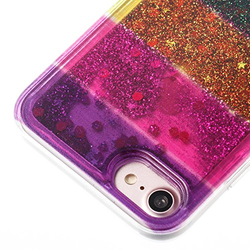 "iPhone 8 4.7"" Case, iPhone 8 Gliter Case, Edaroo [Rainbow Liquid Glitter] [Colorful Quicksand] Cute Creative Flowing Liquid Floating Glitter Bling Rubber Case for Apple iPhone 7(4.7 inch) / iPhone 8(4 Stripe #4"